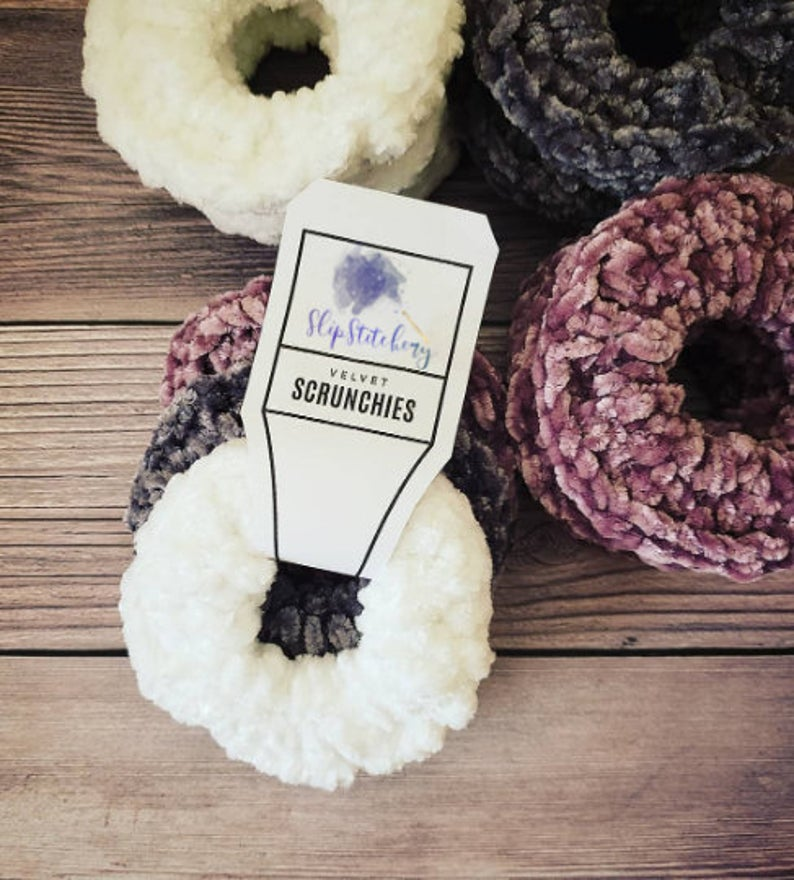 Crochet Velvet Scrunchies, Crochet Scrunchies, Velvet Scrunchies, Scrunchies Pack, White, Gray and Pink Scrunchies, Handmade Scrunchies