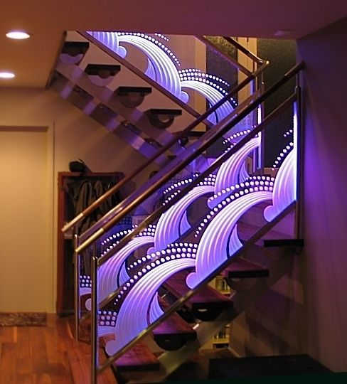 Best Edge Lit Carved Glass Deco Railing Door Glass Design Glass Handrail Glass Staircase 400 x 300