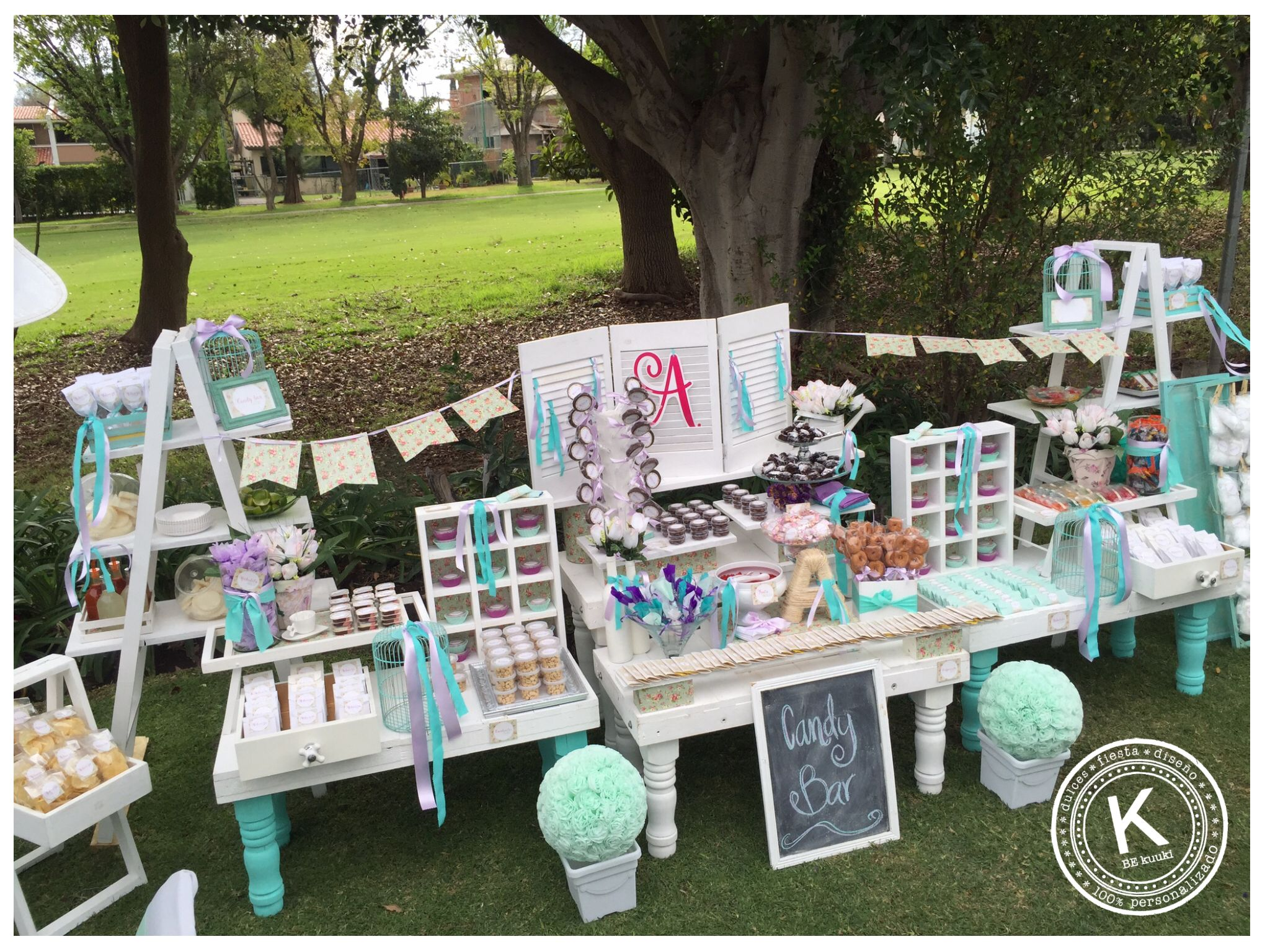 Mesa de dulces candy bar bautizo ni a jard n for Decoracion bautizo nina jardin