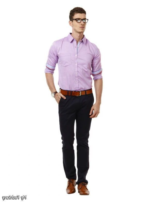 Men S Business Casual A On Up Dress Shirt Paired With Slacks Or Khakis And Conservative Footwear