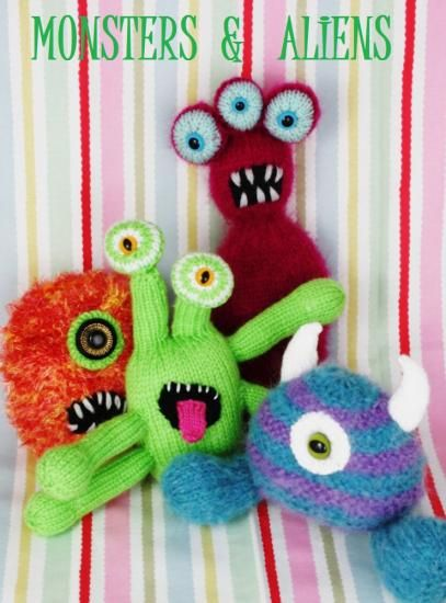 Debi Birkin Monsters & Aliens... loving the three eyed monster!  Grab the ball ends form other projects and off you go!