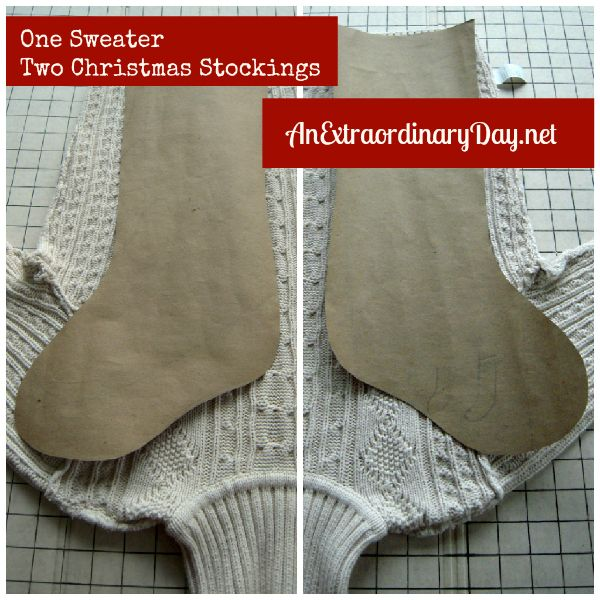repurposed sweaters sweater on a cutting board or table inside out and study the sweater - Sweater Christmas Stockings
