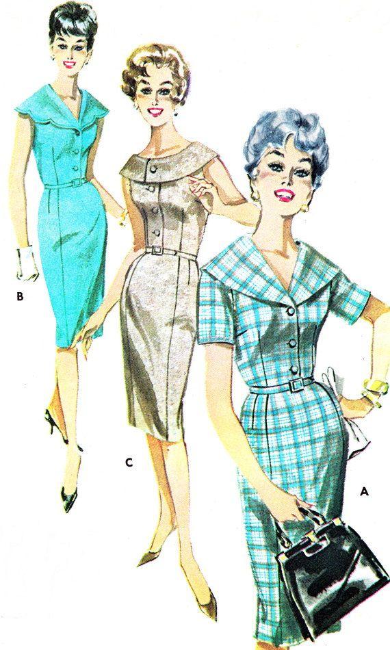 1960s Dress Pattern Butterick 9764 Sheath Dress Scalloped Shawl ...
