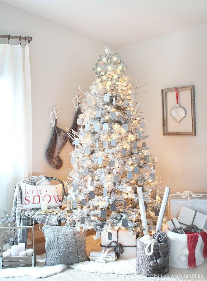 Gray and White Christmas Tree Modern christmas, Rustic modern and