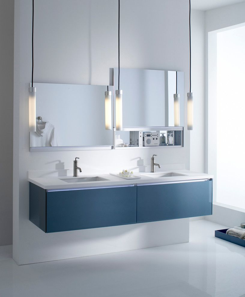Stylish Vanity With Robern Medicine Cabinets Ealing Bathroom Mirror And Pendant Lights Also Floating