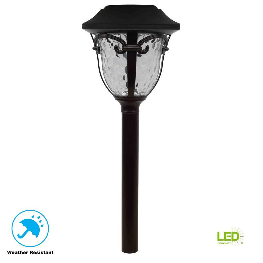 Hampton Bay Solar Bronze Outdoor Integrated Led Landscape Path Light With Water Glass Lens Path Lights Pathway Lighting Water Glass