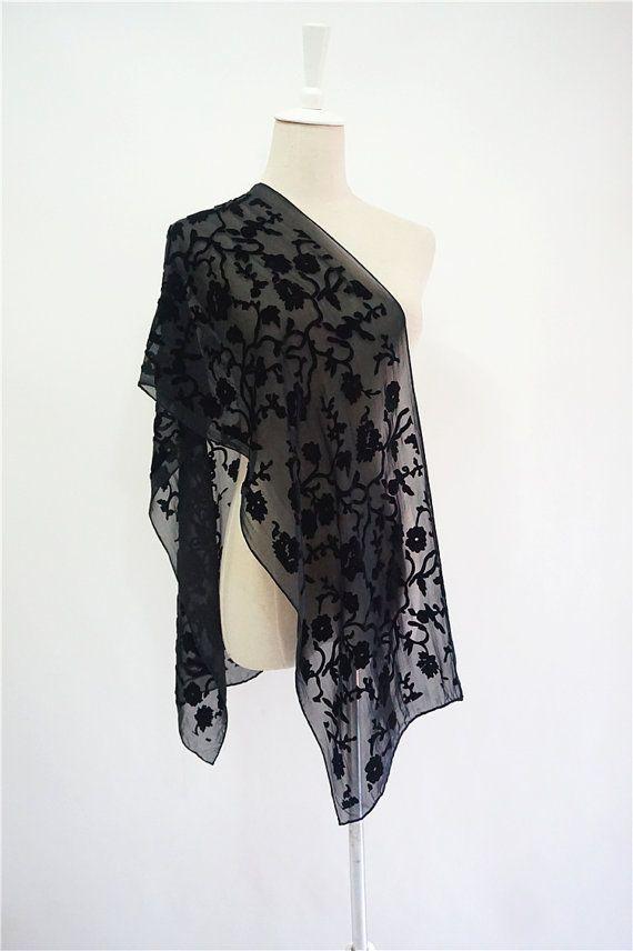 979f32d4b Floral SILK VELVET black scarf.Vintage floral flocking women's ...