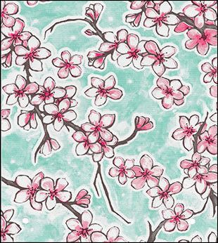 Oil Cloth:Cherry Blossom Aqua