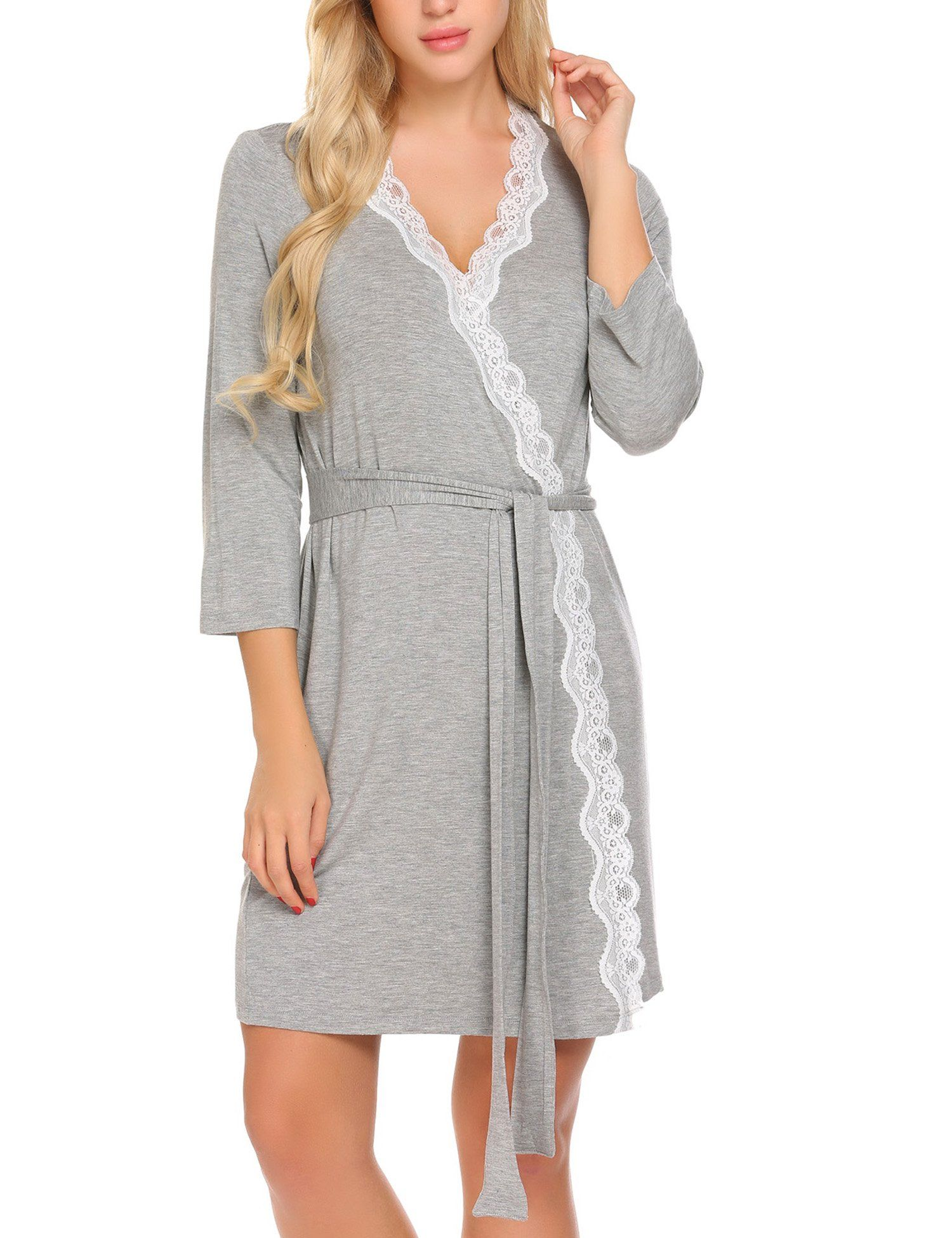 d47e5d165b Ekouaer Nightgown with Robe Set Soft 3 4 Sleeve VNeck Bath Robes Grey L      Read more reviews of the product by visiting the link on the image.