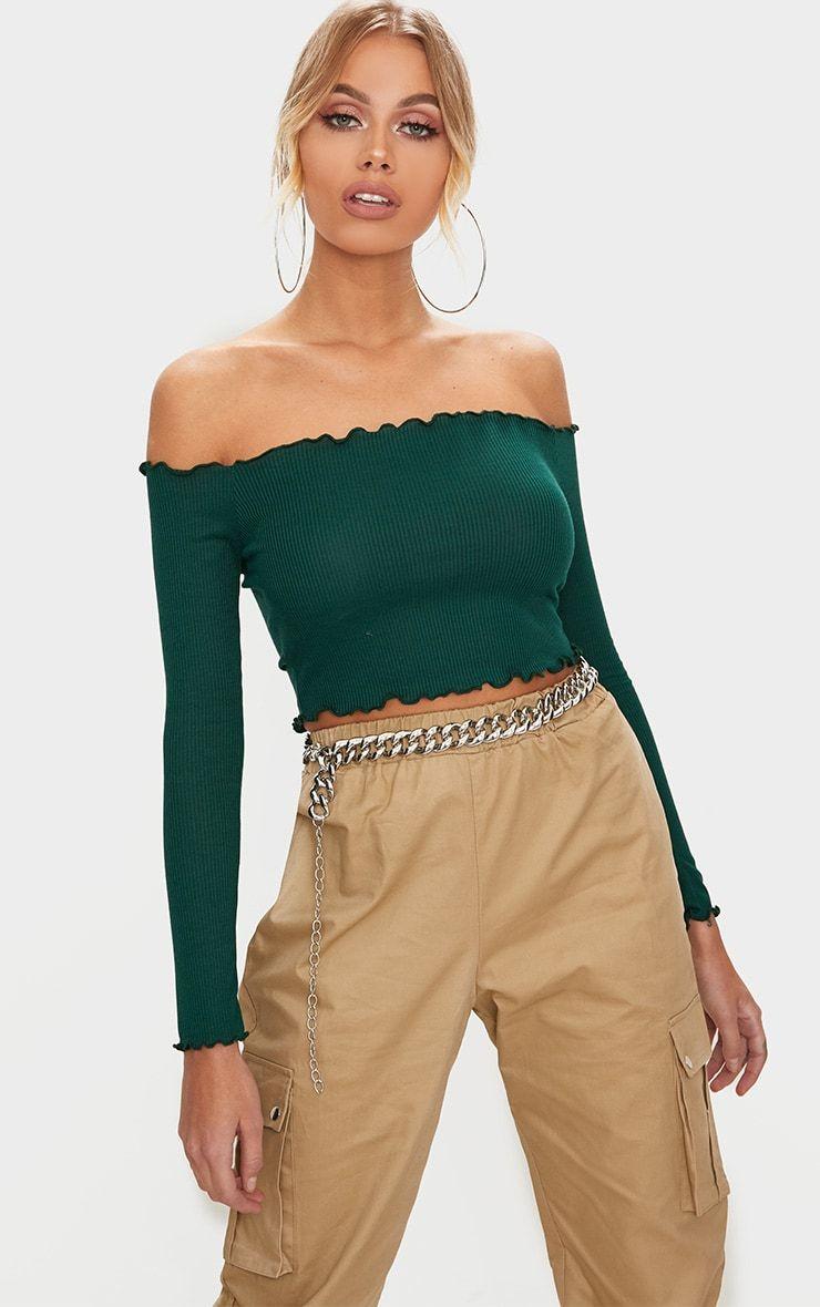 3464716ee6655 Emerald Green Frill Edge Crop Top