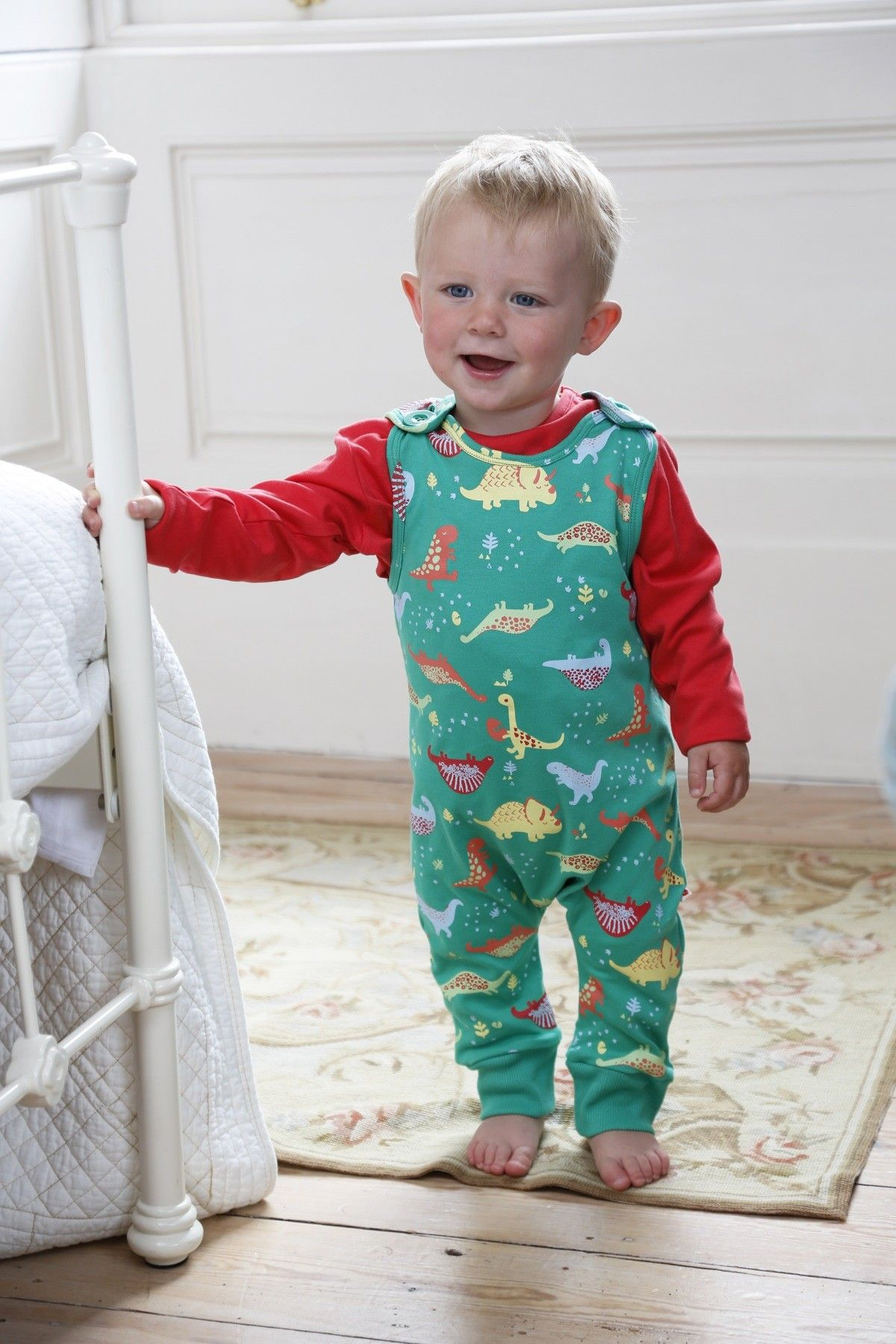 Piccalilly Organic Cotton Green Dinosaur Dungarees over red long