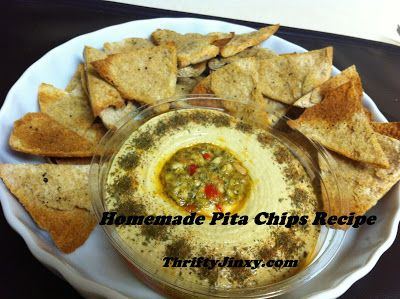 I LOVE hummus and my favorite way to eat it is on pita chips.  I found out this week that it is really easy to make your own and they are delicious as well! Ingredients: 4 pitas 3 cloves garlic 1/2 cup olive oil salt freshly ground black pepper Preheat oven to 375 degrees.  Smash …
