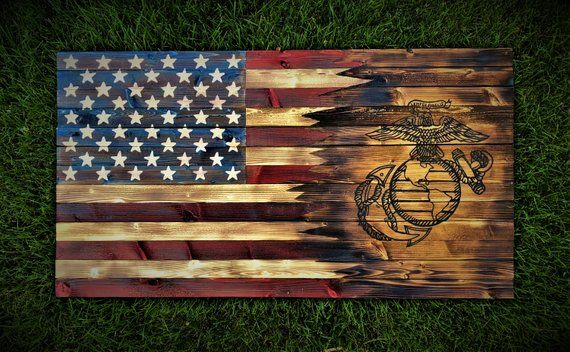 American Marine Flag Marines Wooden Flag Wooden American Flag