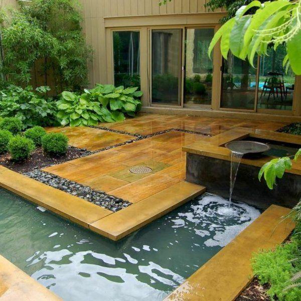Dcoration De Jardin Avec Une Fontaine Pour Bassin  Bassin Boule