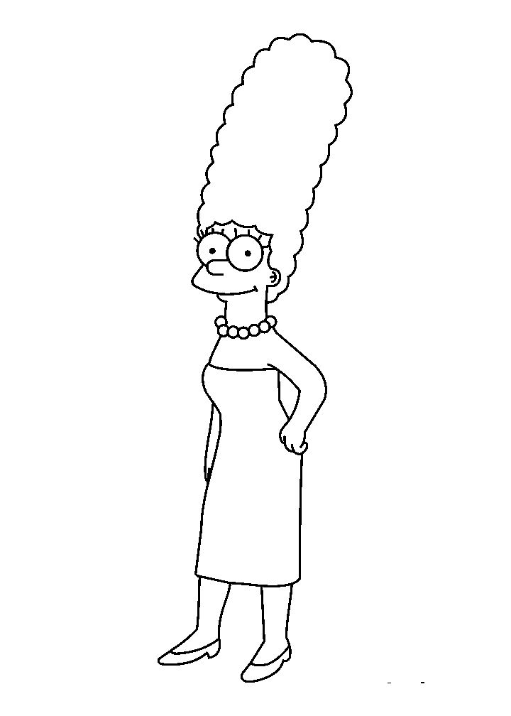 Marge Simpson Beautiful Coloring Pages For Kids Gqv Printable Simpsons Coloring Pages For Kids Disney Schetsen Tekenen Disney