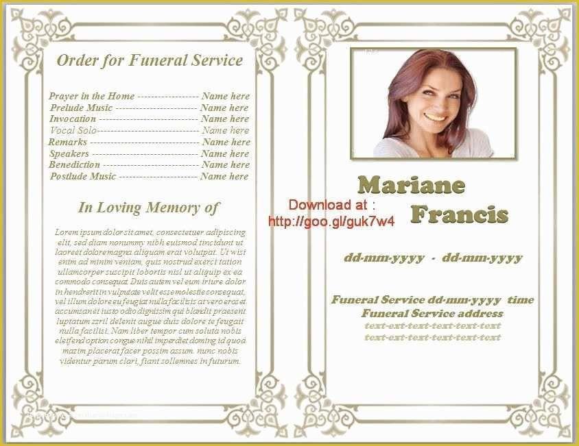 Free Downloadable Obituary Program Templates Of Printable Funeral Program Templates On Funeral Program Template Free Funeral Program Template Funeral Programs