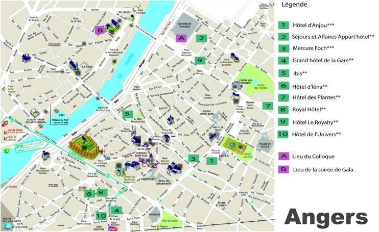 Angers hotel map Maps Pinterest France and City