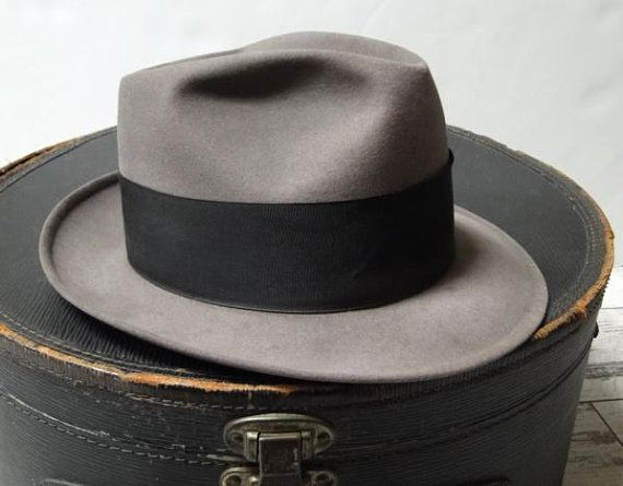 5ed6ce93736 Vintage mans fedora Churchill Ltd hat made of gray felted beaver fur with  wide black ribbon band size 7 1 8. Very nice mans fedora authentic 1950s.