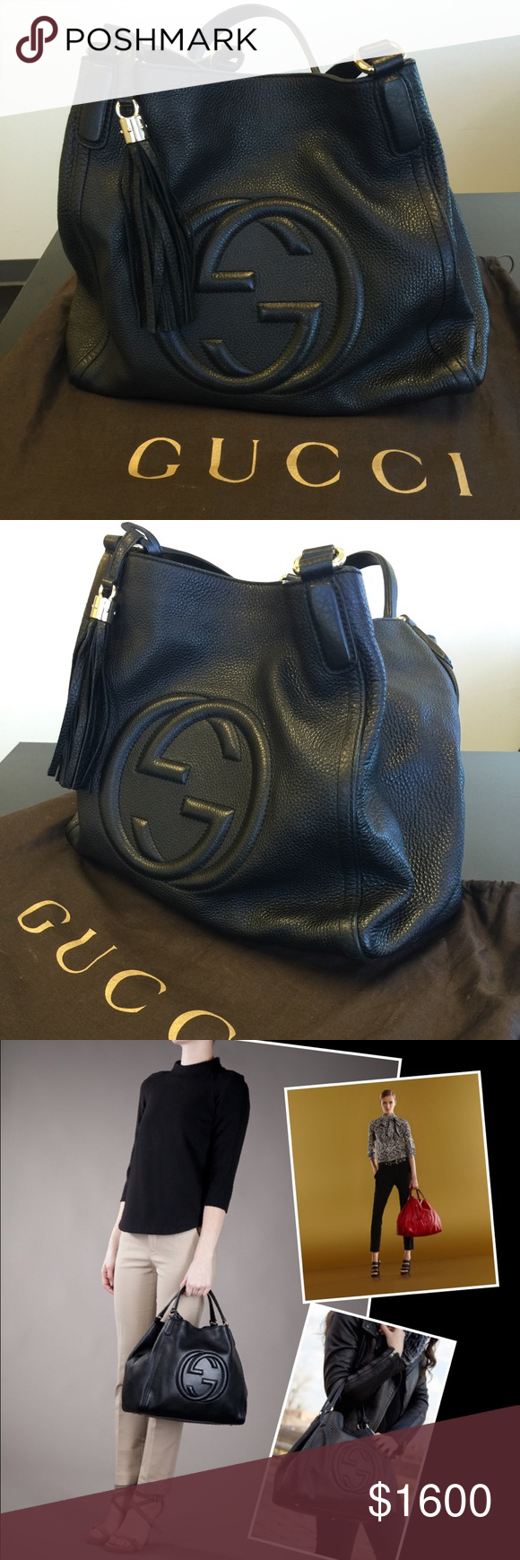 c9db278d74ad Spotted while shopping on Poshmark: 💋HP💋Gucci soho hobo black shoulder bag  / tote! #poshmark #fashion #shopping #style #Gucci #Handbags