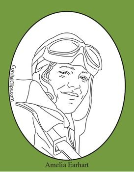 Amelia Earhart Realistic Clip Art Coloring Page And Poster Art