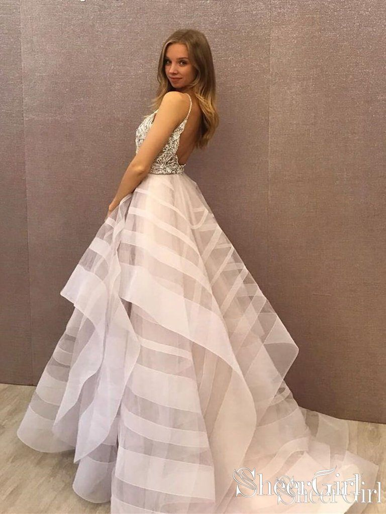 e2e38c509e3 Backless Shiny Silver Beaded Ball Gown Prom Dresses Multi-Layered ...