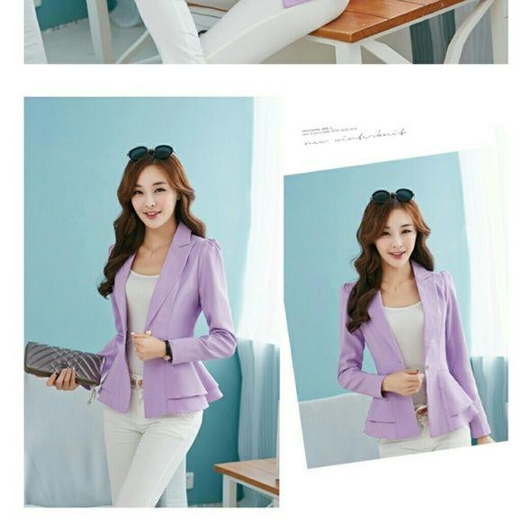 Blazer purple Brand new jacket/blazer with tag on. It's medium size but fits like a small size Jackets & Coats Blazers