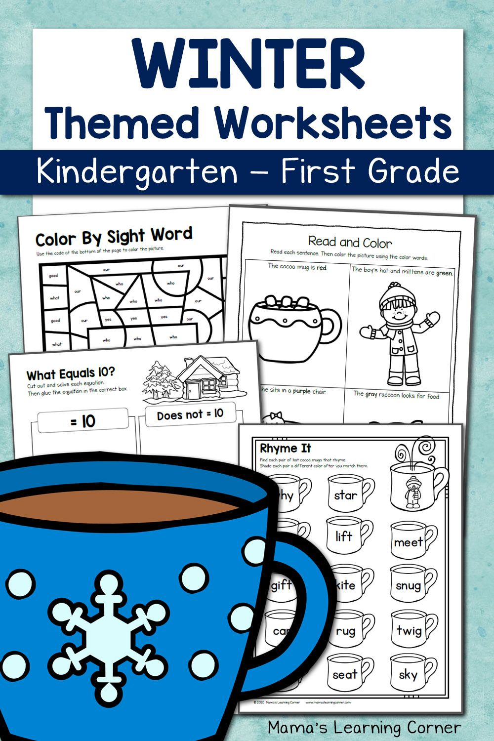 Winter Worksheets For Kindergarten And First Grade Winter Math Worksheets First Grade Worksheets Kindergarten Worksheets