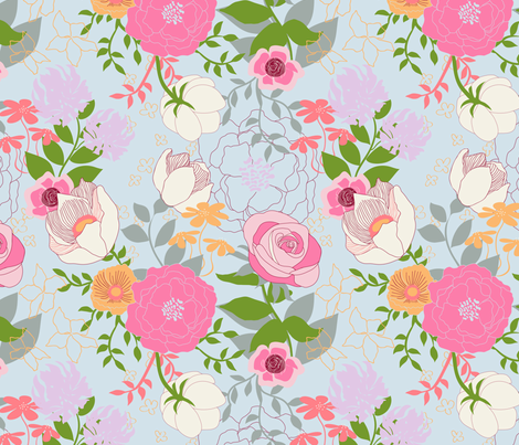 Floral on Light fabric by angelger28 on Spoonflower - custom fabric