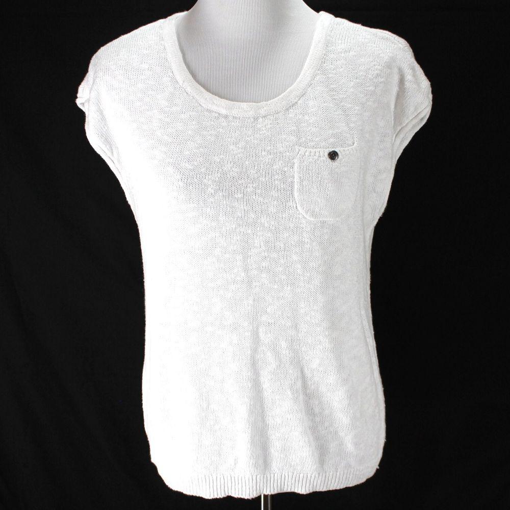 Ann Taylor Loft Sweater Top Sz M White Sleeveless Linen Cotton ...