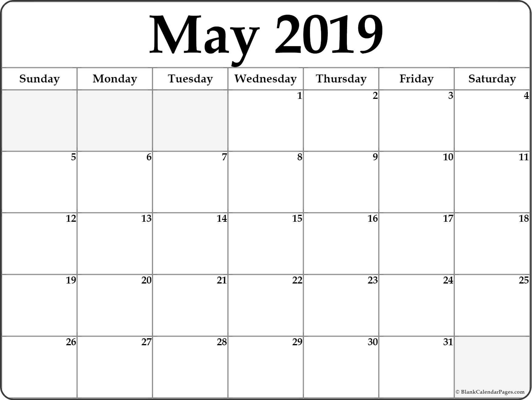 May 2020 Calendar With Holidays Printable Notes Template Blank