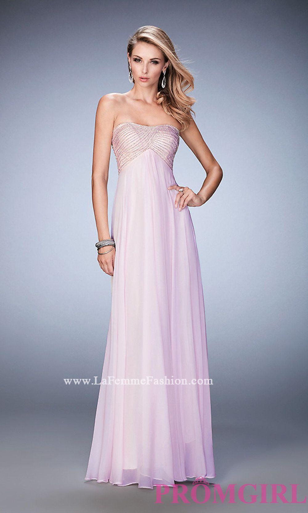Long empire waist strapless la femme prom dress style lf