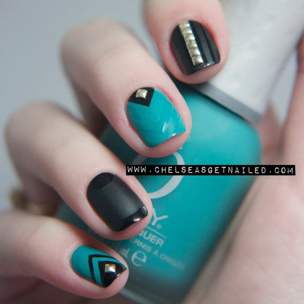 Matte Turquoise Studded Nail Art Design