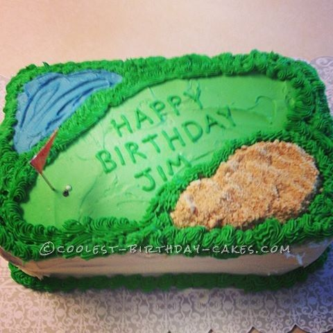 Amazing Simple Homeamde Golf Course Birthday Cake 90Th Birthday Cakes Funny Birthday Cards Online Eattedamsfinfo