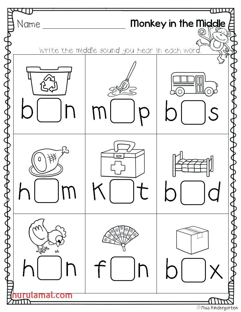 Middle Sound Worksheets 1st Grade Cvc Worksheets Kindergarten Middle Sounds Worksheet Kindergarten Worksheets Printable