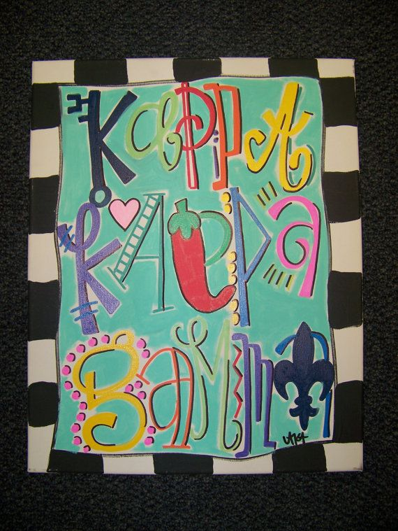 Kappa Kappa Gamma Sorority Canvas by dixieanddelight on Etsy, $75.00