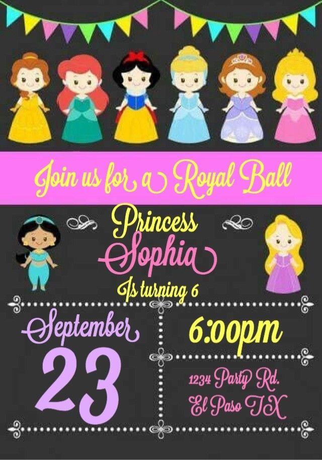Princess Birthday Invitations Invite Custom Personalized | Princess ...