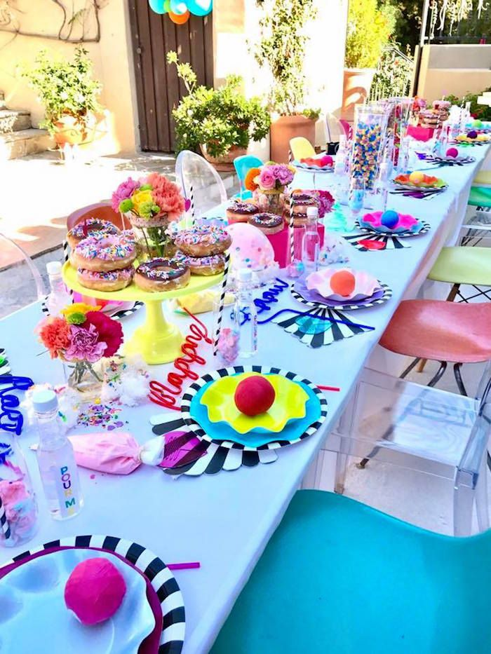 Guest Table From A Colorful Modern 10th Birthday Party On Kara S Party Ideas Karaspartyideas 10th Birthday Parties Kids Party Tables Colorful Birthday Party