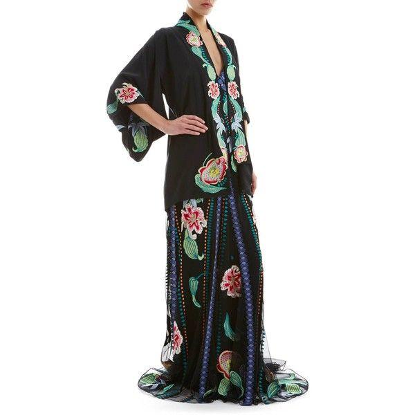 Temperley London Short Carmelina Kimono ($1,730) ❤ liked on Polyvore featuring temperley london