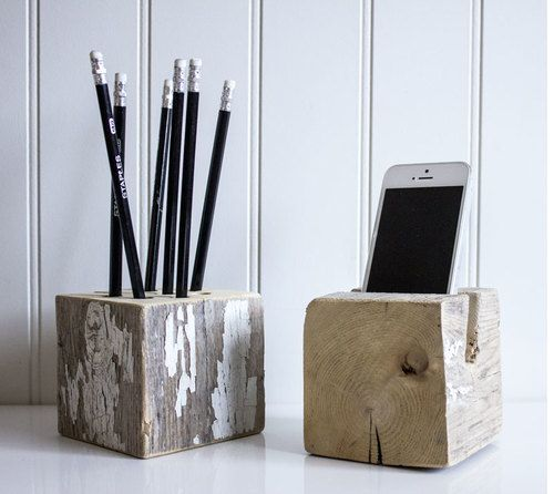Delicieux Reclaimed Barn Post Desk Set. Natural Wood Desk Accessories For An Eco Chic  Rustic