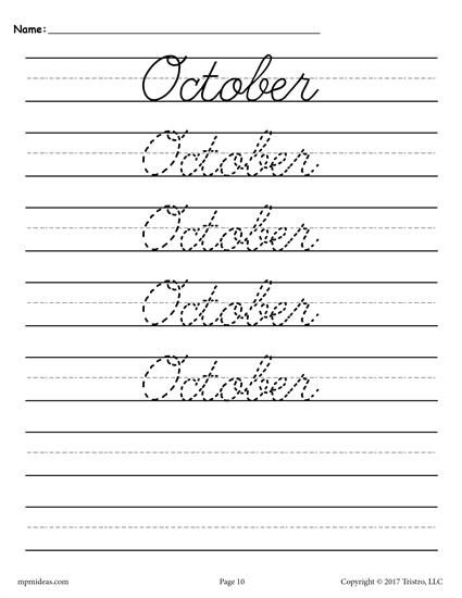12 free months of the year cursive handwriting worksheets worksheets activities lesson. Black Bedroom Furniture Sets. Home Design Ideas