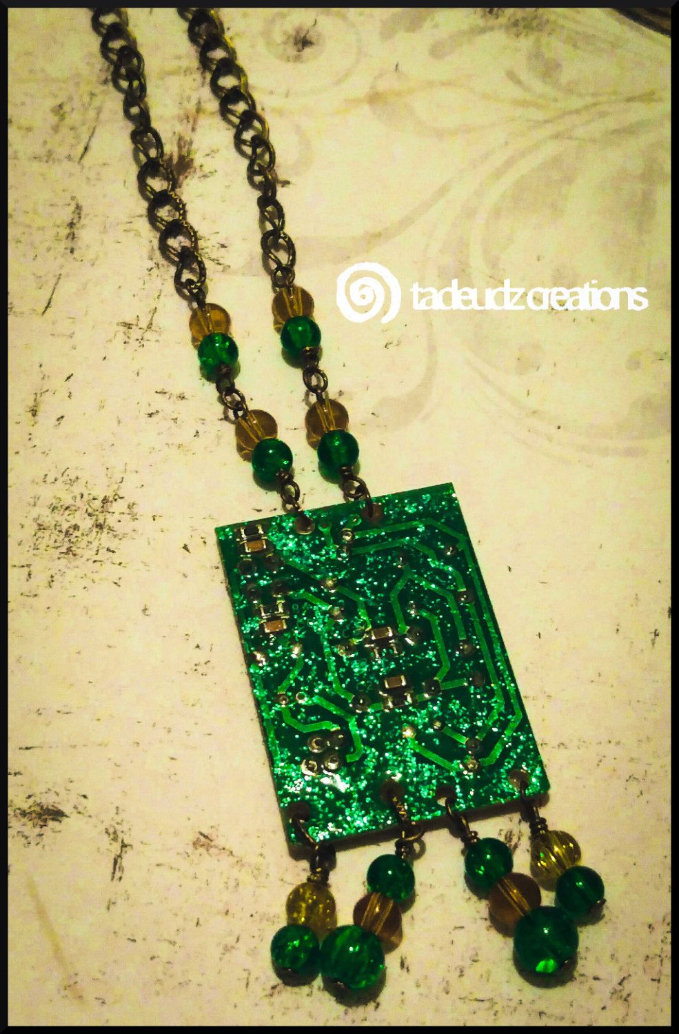 Bronze Glittery Upcyled Beaded Circuit Board Pendant Cyberpunk By Old Boards Upcycled Into Jewels Recycled Electronic Waste Tadeudzcreations On Etsy