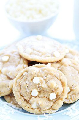 White Chocolate Coconut Cookie Recipe-these cookies are soft, chewy, and the perfect summer treat!