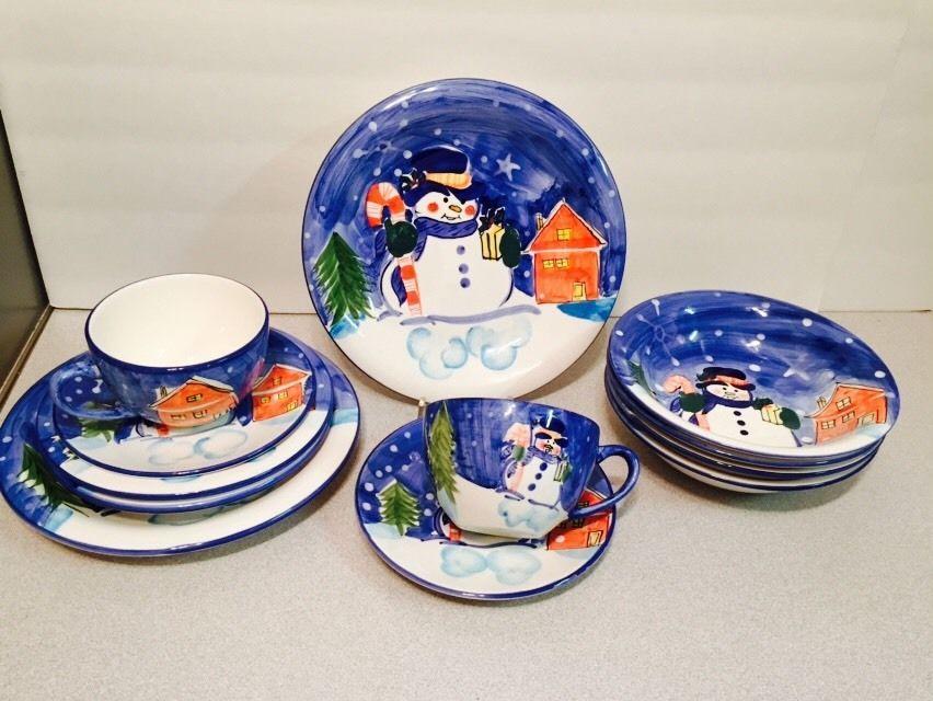 12 Piece Christmas Dinnerware Set Snowman Blue Plates By Emerald Emerald Christmas Dinnerware Sets Christmas Dinnerware Dinnerware Set