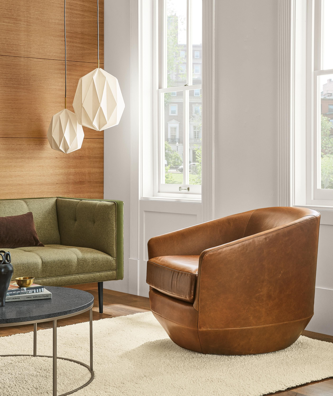 Gibbs Leather Swivel Chair Swivel Chairs Modern Living Room