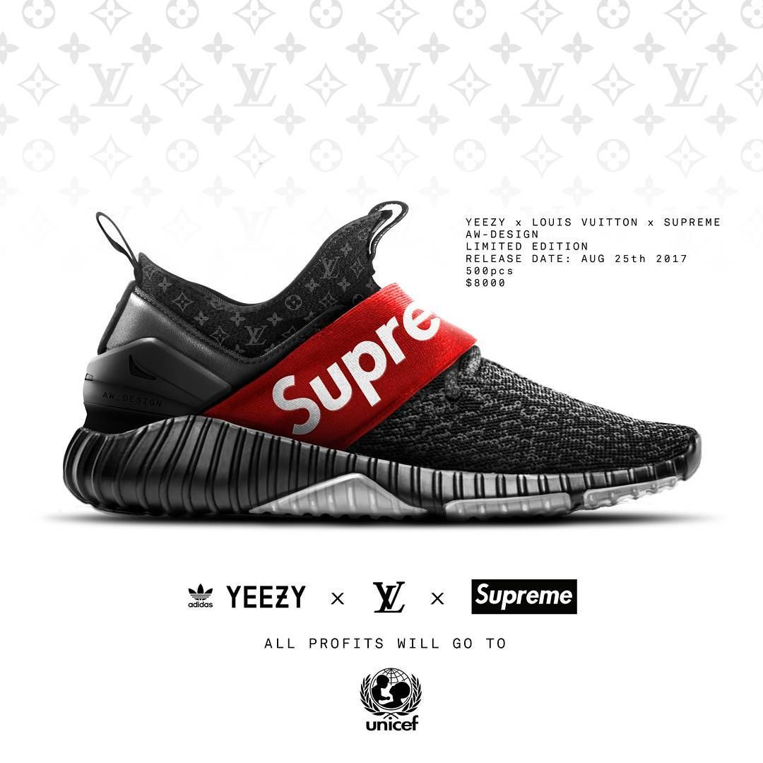 """official photos 02654 f4b99 367 curtidas, 13 comentários - Adrienwira design ( adrienwira design) no  Instagram  """"YEEZY x VUITON x SUPREME Aw Design concept 2017 Limited edition  ..."""