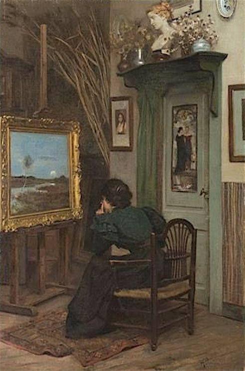 Francesco Saverio Altamura  (Foggia, 1822 - Napoli, 1897) Nello studio del pittore, 1875-78
