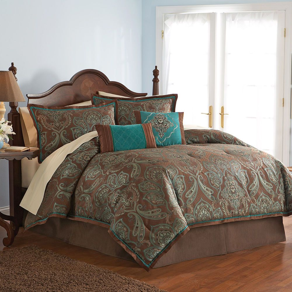 Outrageous Green And Brown Bedroom: Details About Tuscany 7-Piece Blue Brown Paisley Floral