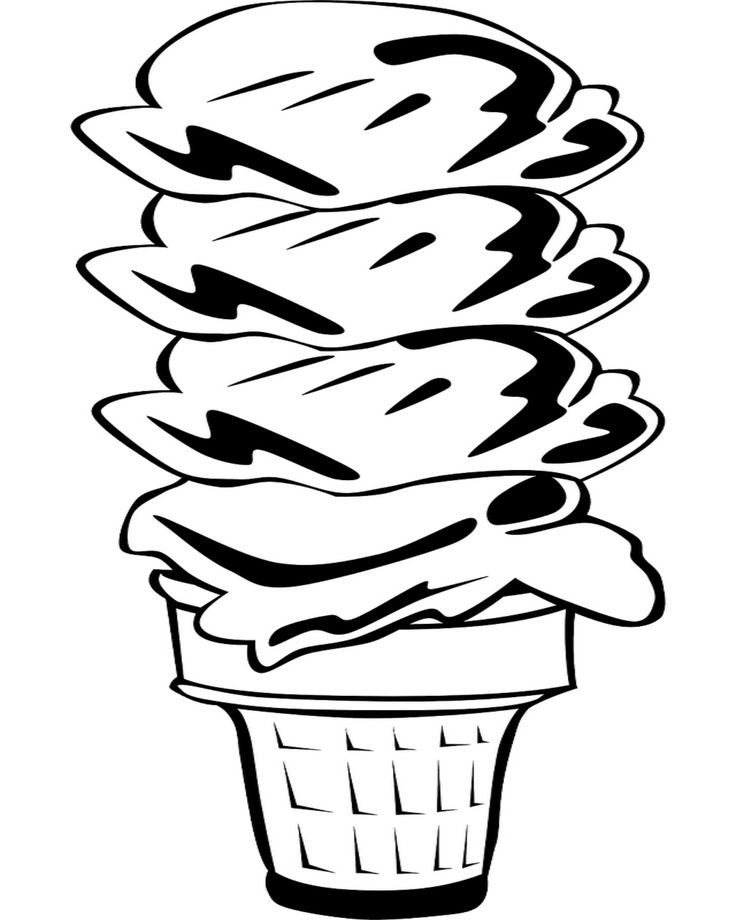 4 Scoop Ice Cream Cone Coloring Page Summer Coloring Pages