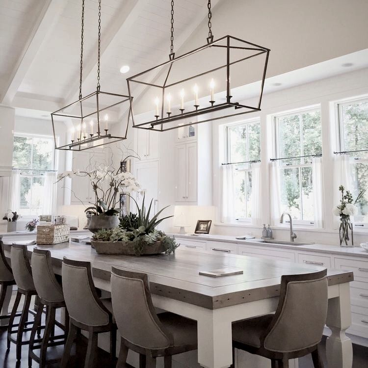 Double Center Island Pendants - Large Kitchen with XL Center island
