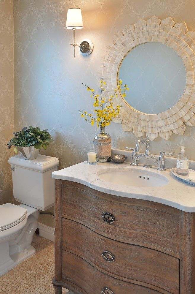 French Country Bathroom Vanity Powder Room Traditional With Faucets Lighting